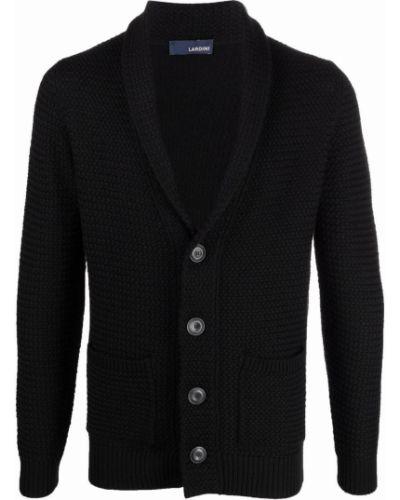 Czarny sweter z dekoltem w serek Lardini