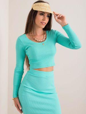 Bluzka materiałowa - turkusowa Fashionhunters