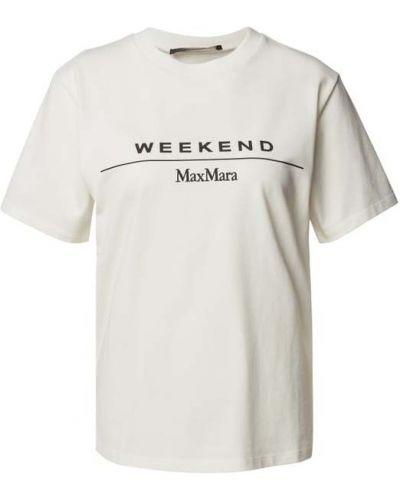 Biała koszulka z printem Weekend Max Mara