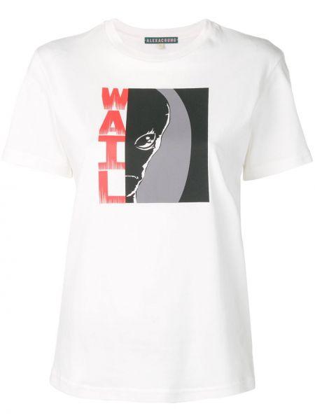 Хлопковая белая прямая футболка с короткими рукавами Alexa Chung