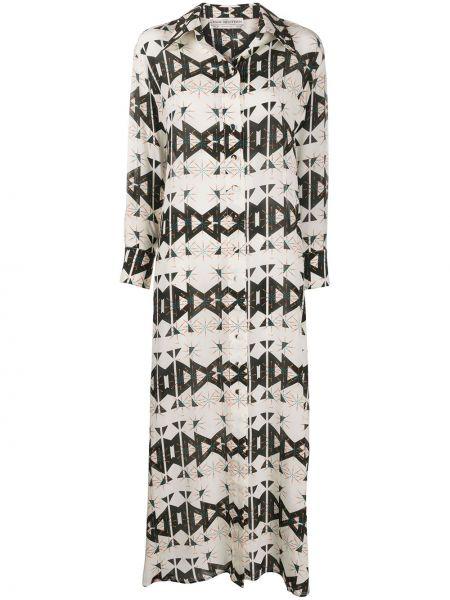 Шелковое классическое платье на пуговицах с воротником Jessie Western