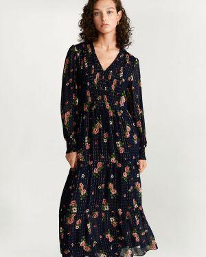 Платье миди с цветочным принтом повседневное Mango