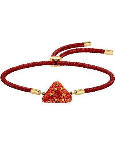 Красный браслет металлический с подвесками Swarovski