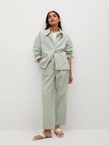 Прямой удлиненный пиджак с воротником с накладными карманами Mango