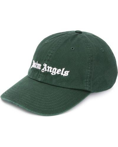 Bawełna bawełna zielony czapka z daszkiem z haftem Palm Angels