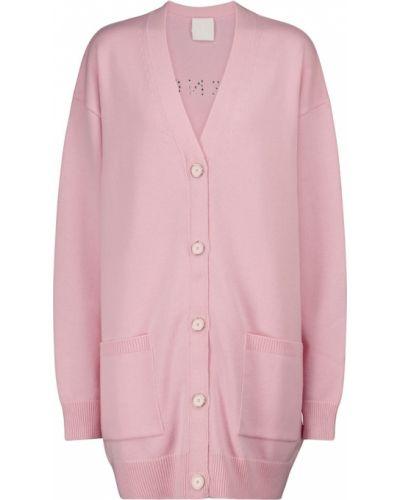 Z kaszmiru różowy kardigan z ćwiekami Givenchy