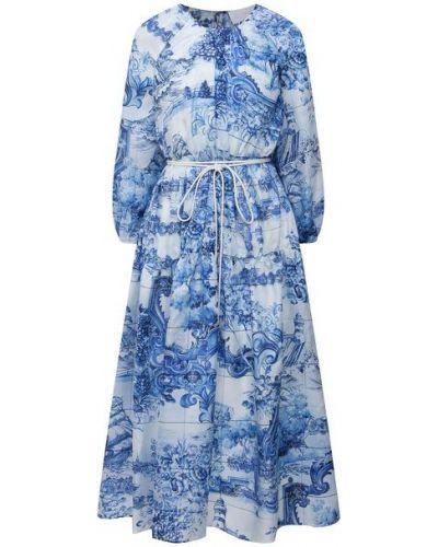 Шелковое синее платье Boss