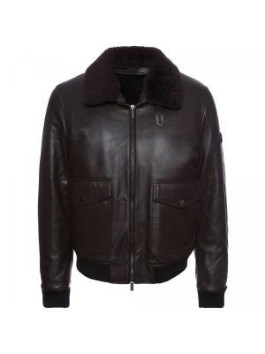 Коричневая кожаная куртка Baldinini