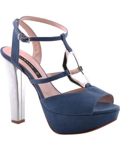Кожаные босоножки - голубые Albano