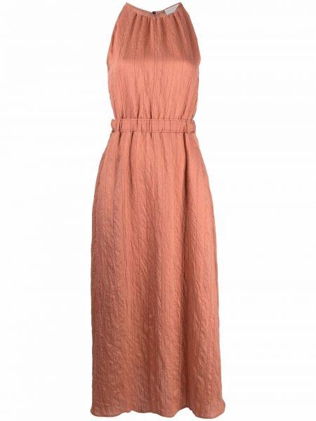 Коричневое платье макси на шнуровке в полоску Sandro Paris