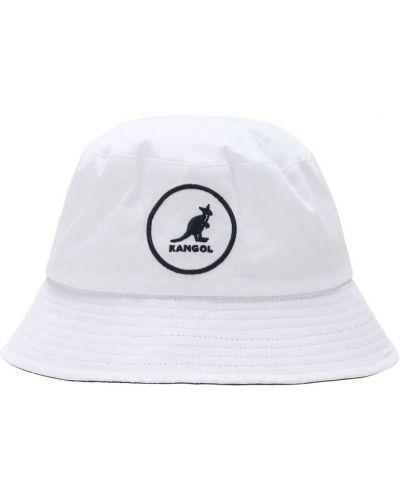 Biały kapelusz bawełniany z haftem Kangol