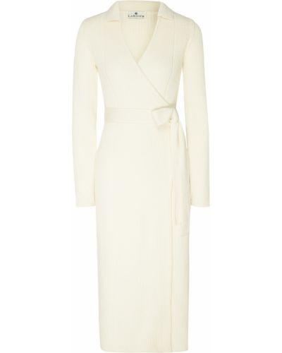 Вязаное трикотажное белое платье миди Laroom