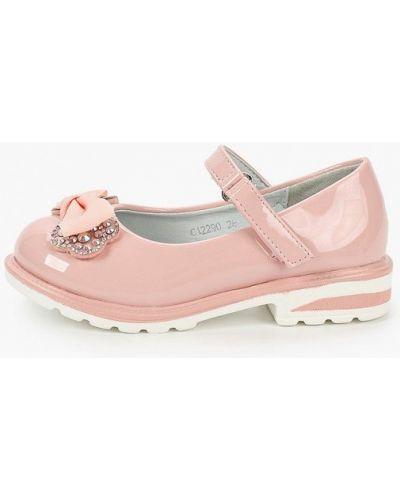 Лаковые кожаные розовые туфли капитошка