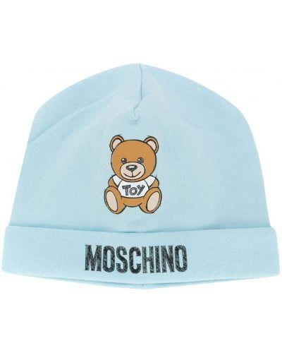 Синяя хлопковая шапка без застежки Moschino Kids