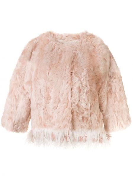 Розовая шуба из овчины круглая Yves Salomon