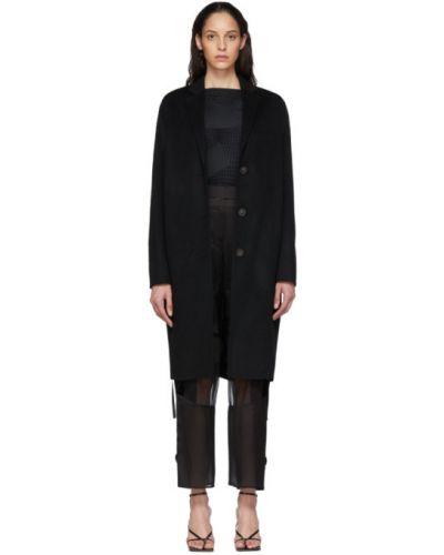 Шерстяное черное длинное пальто с воротником Acne Studios