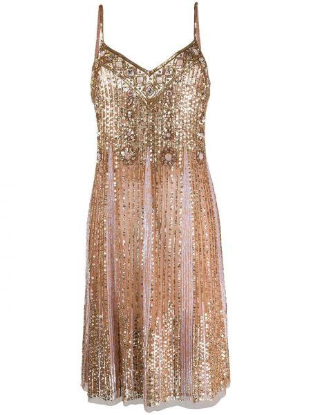 Платье трапеция с вышивкой с поясом Blumarine