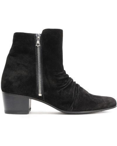 Czarne ankle boots zamszowe kaskadowe Amiri