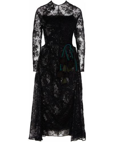 Платье миди с поясом с длинными рукавами Prada