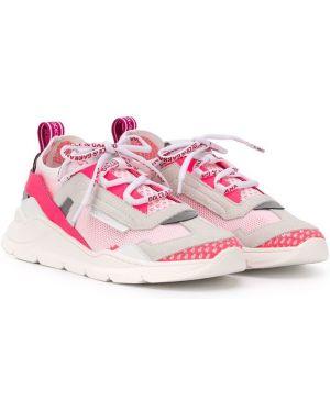 Skórzane sneakersy różowy białe Dolce & Gabbana Kids