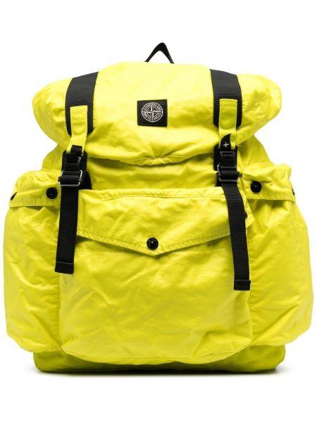 Żółty plecak z klamrą bawełniany Stone Island
