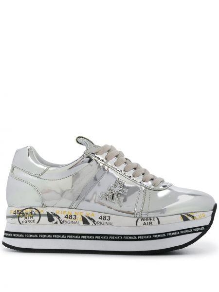 Серебряные кроссовки на платформе на шнуровке с заплатками Premiata