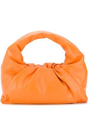 Оранжевая кожаная сумка на плечо Bottega Veneta