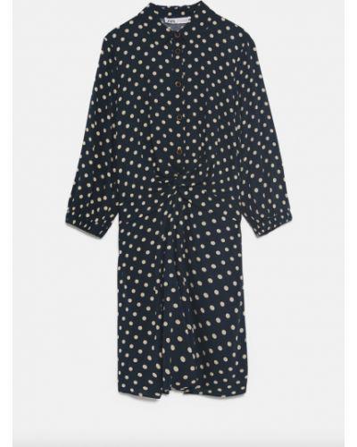 Платье в горошек - синее Zara