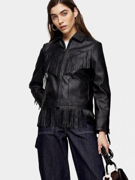 Кожаная куртка черная весенняя Topshop