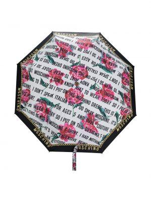 Biały parasol w kwiaty z printem Moschino