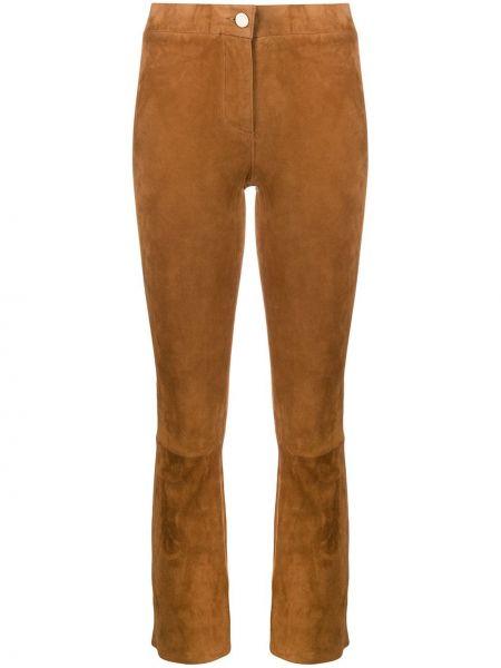 Кожаные коричневые укороченные брюки с поясом на молнии Arma