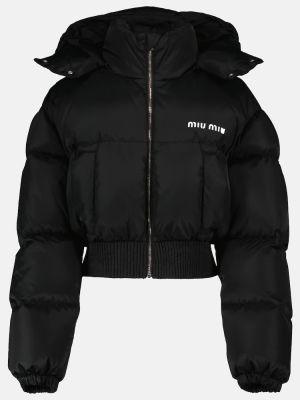 Куртка с капюшоном - черная Miu Miu