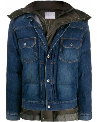 Niebieskie jeansy bawełniane z długimi rękawami Sacai