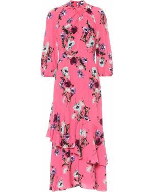 Тонкое розовое платье миди из вискозы Erdem