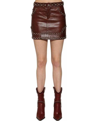 Кожаная юбка мини - коричневая Dsquared2