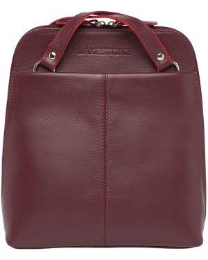 Кожаный рюкзак спортивный бордовый Lakestone