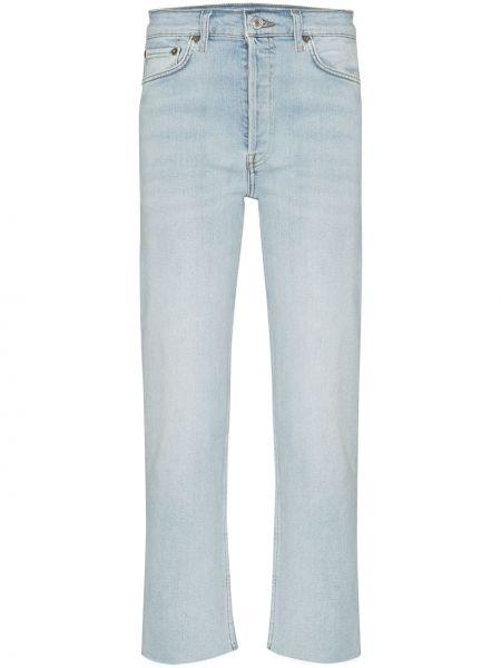 Bawełna niebieski jeansy na wysokości z kieszeniami wysoki wzrost Re/done