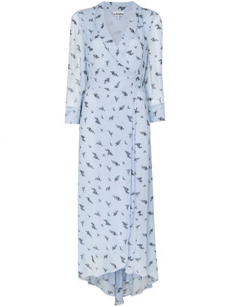 Платье из вискозы синее Ganni