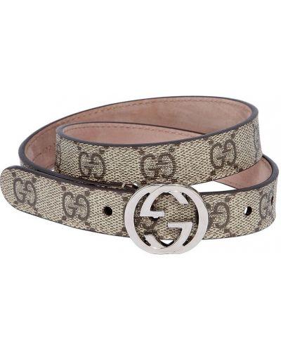 Beżowy skórzany pasek z paskiem z klamrą Gucci