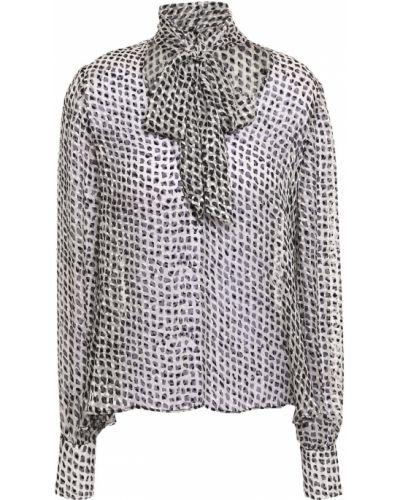 Шелковая черная блузка прозрачная Saloni