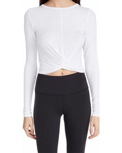 Biały prążkowany crop top z długimi rękawami Alo Yoga