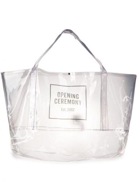 Czarny torba na zakupy wytłoczony przezroczysty Opening Ceremony