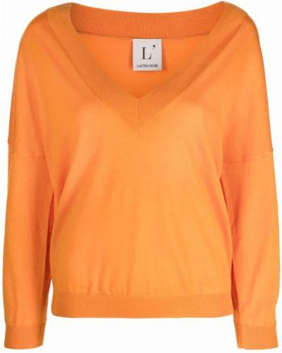Оранжевый шерстяной джемпер с V-образным вырезом Lautre Chose