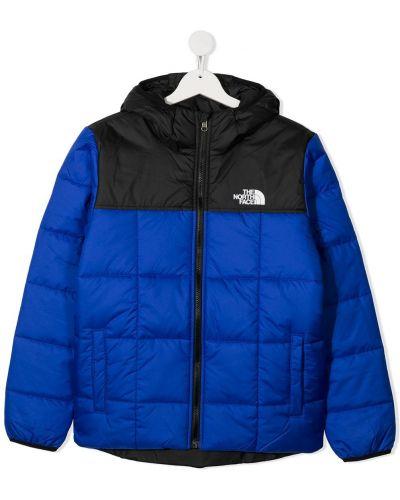 Классическое стеганое черное пальто с вышивкой The North Face Kids