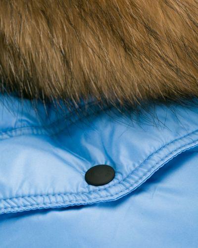 Синее пуховое длинное пальто с капюшоном As65