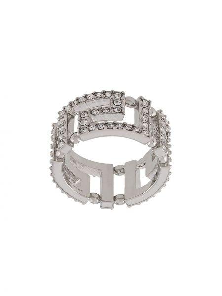 Кольцо металлическое - серебряное Versace