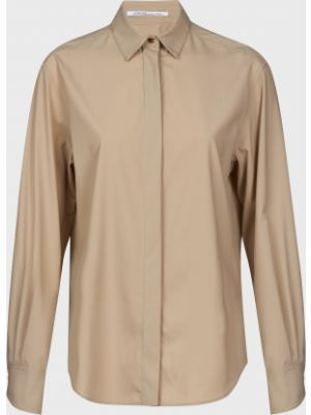 Бежевая шелковая блузка на пуговицах Agnona