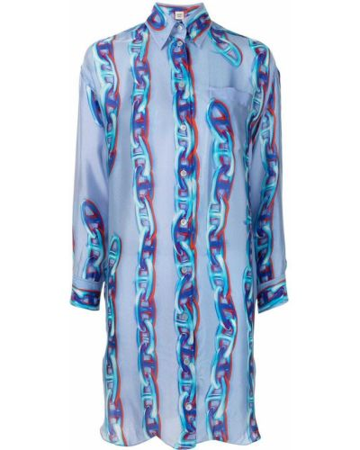 Синее платье макси на пуговицах Hermès
