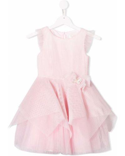 Розовое платье с рукавами из фатина David Charles Kids