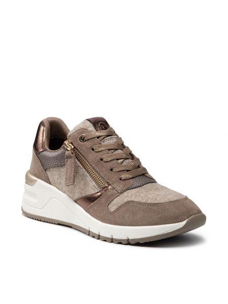 Sneakersy na koturnie skorzane - brązowe Tamaris